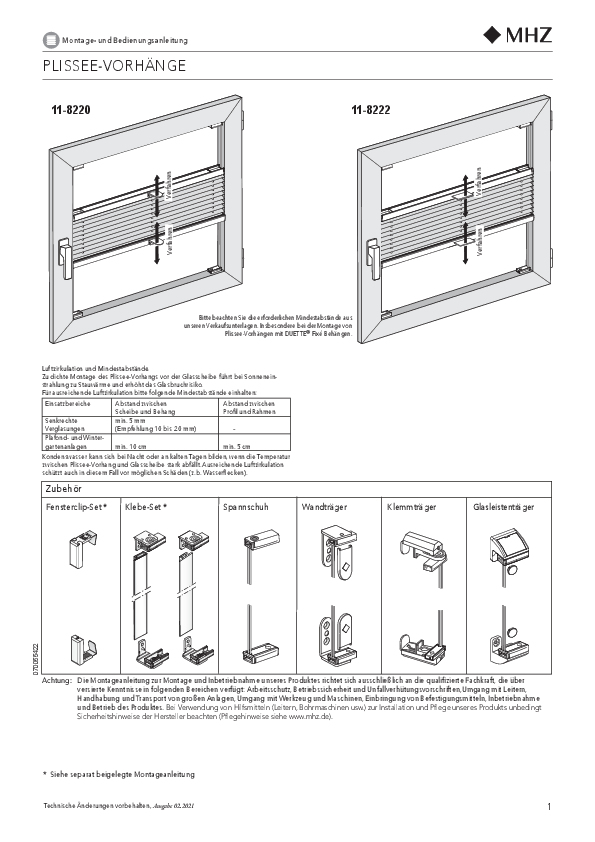 Installation and operating instructions pleated blinds 11-8220, 11-8222