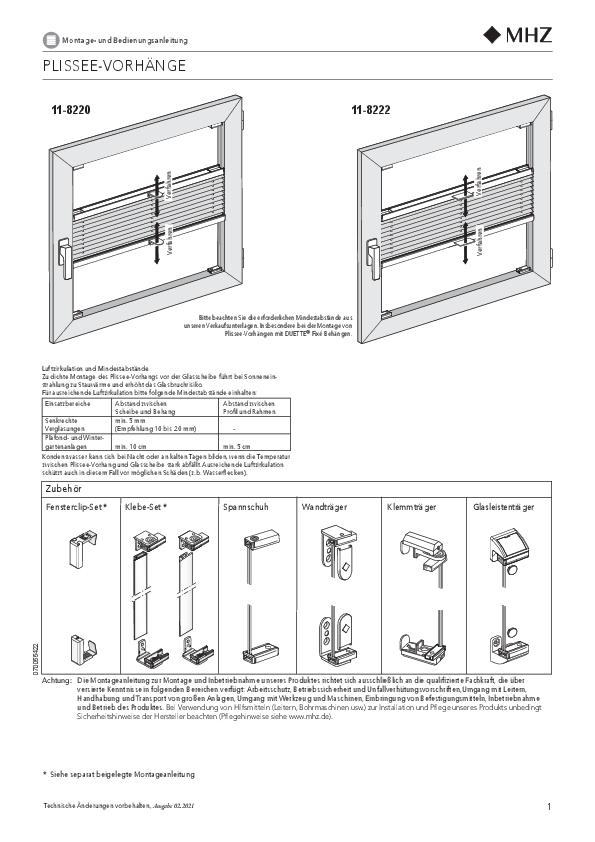 Notice de montage stores plissés 11-8220, 11-8222