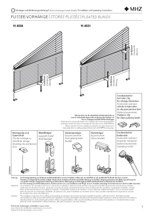 Montage- und Bedienungsanleitung Plissee-Vorhänge 11-8550, 11-8551