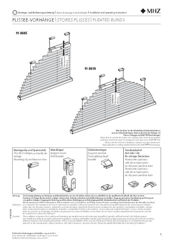 Notice de montage stores plissés 11-8605, 11-8610