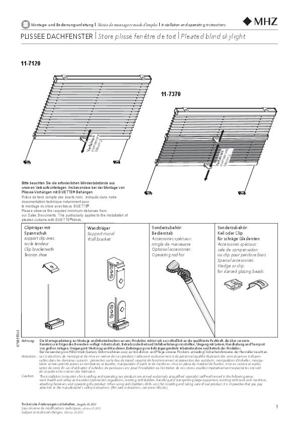 Notice de montage stores plissés 11-7120, 11-7370