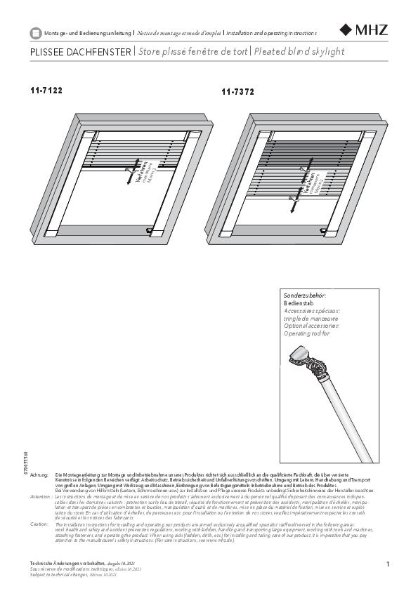 Montage- und Bedienungsanleitung Plissee-Vorhänge 11-7122, 11-7372