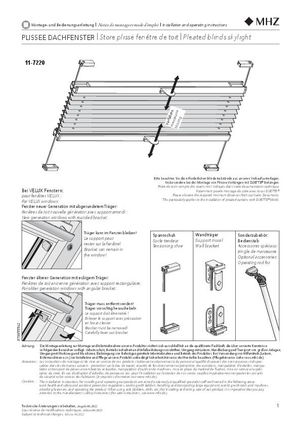 Montage- und Bedienungsanleitung Plissee-Vorhänge 11-7220
