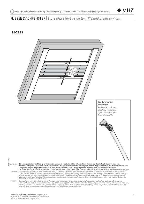 Installation and operating instructions pleated blinds 11- 7223