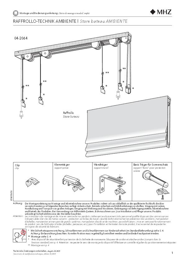 Montage- und Bedienungsanleitung Raffrollo-Technik AMBIENTE