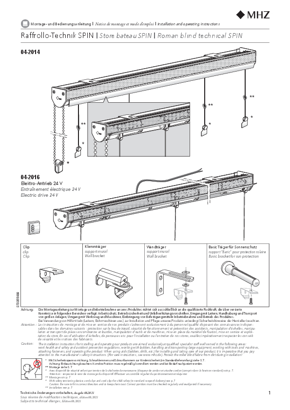 Installation and operating instructions Roman blind technical SPIN