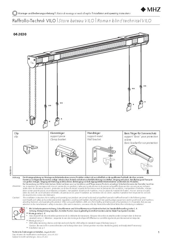 Montage- und Bedienungsanleitung Raffrollo-Technik VILO