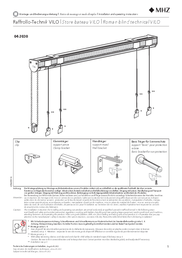 Installation and operating instructions Roman blinds technical VILO