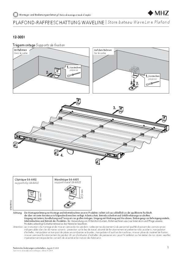 Notice de montage store bateau WaveLine Plafond 12-3051