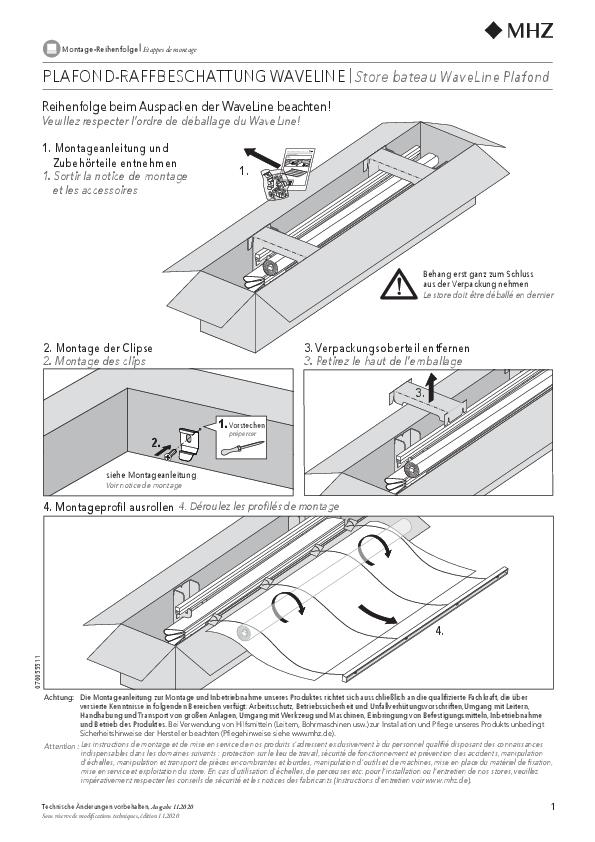 Montageanleitung Raffrollo WaveLine Montage-Reihenfolge