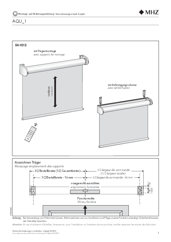 Montage- und Bedienungsanleitung Rollo AQU_1