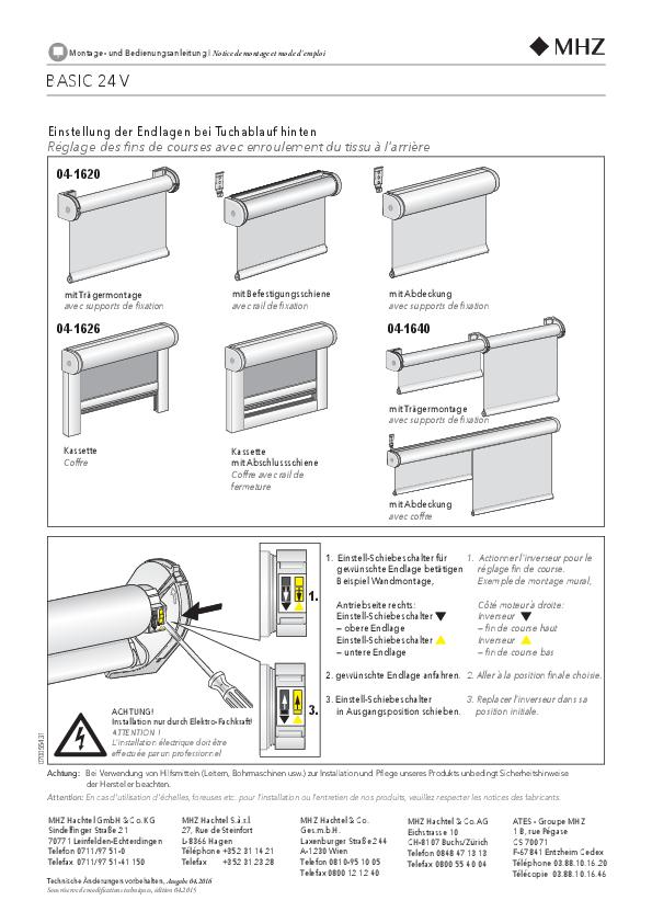 Notice de montage store enrouleur BASIC 24 V