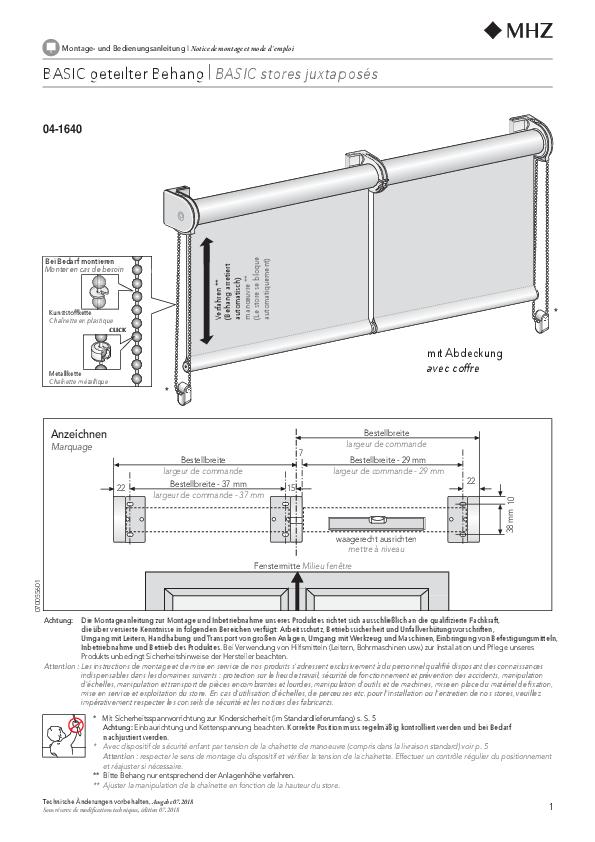 Montage- und Bedienungsanleitung Rollo BASIC geteilter Behang
