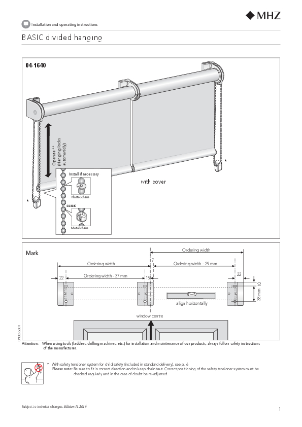 Installation and operating instructions roller blind BASIC non-linked blind