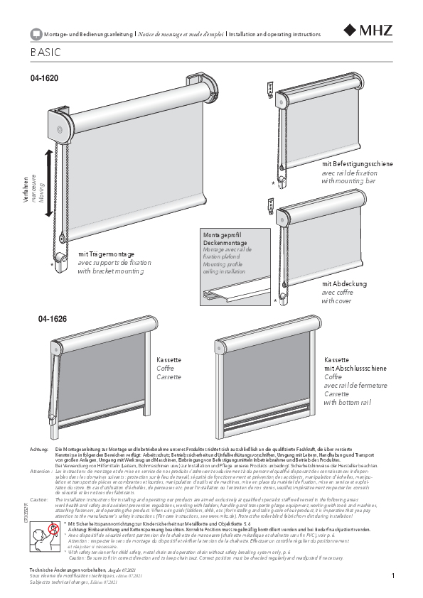 Installation and operating instructions roller blind BASIC