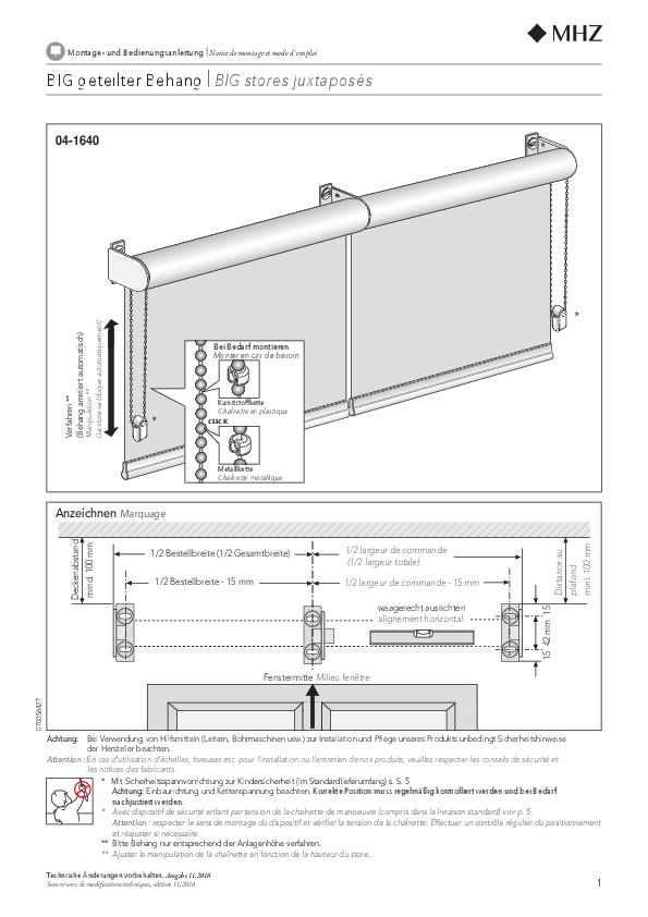 Montage- und Bedienungsanleitung Rollo BIG geteilter Behang