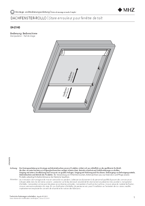 Notice de montage store enrouleur pour fenêtre de toit 04-2140