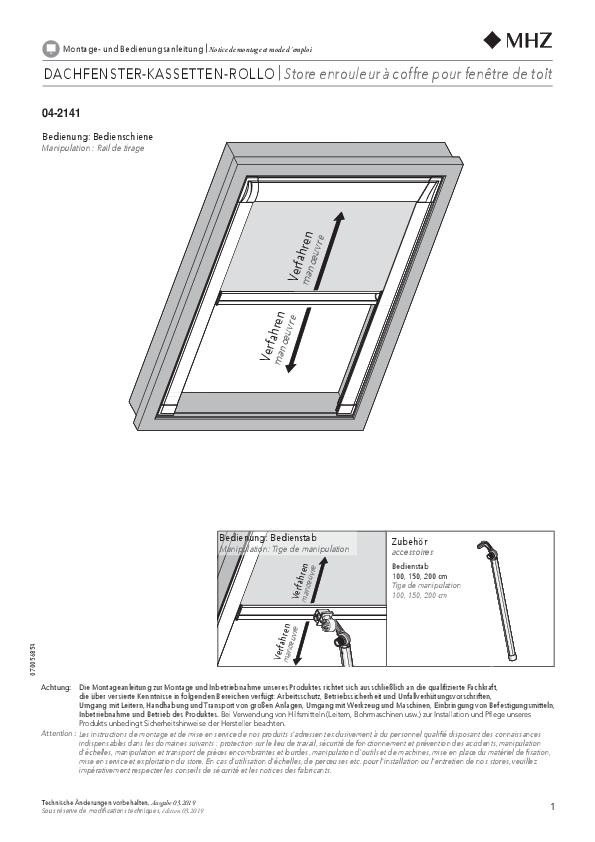Montageanleitung Rollo Dachfenster 04-2141