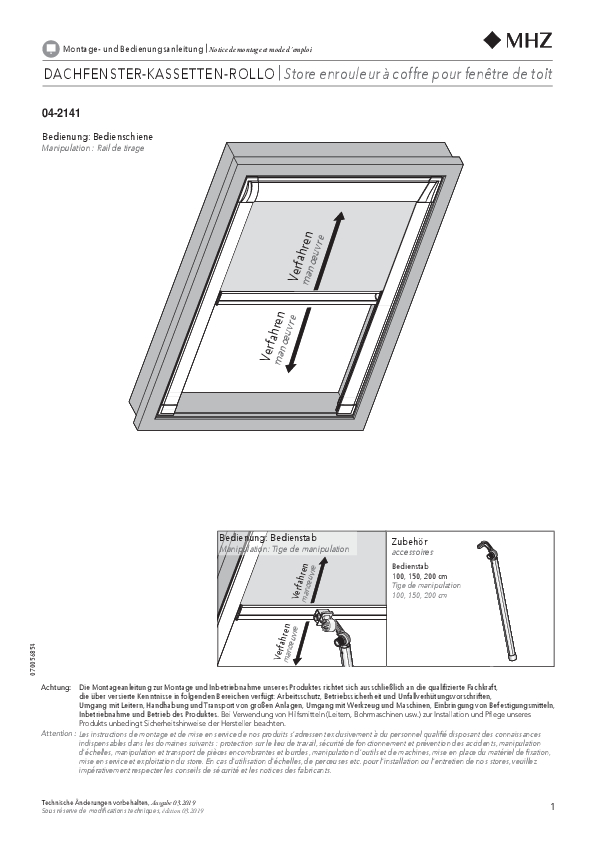 Notice de montage store enrouleur pour fenêtre de toit 04-2141