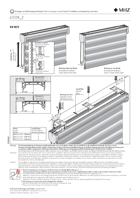 Installation and operating instructions roller blind LOOK_2