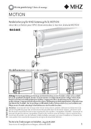 Notice de montage store enrouleur MOTION sécurité oscillation