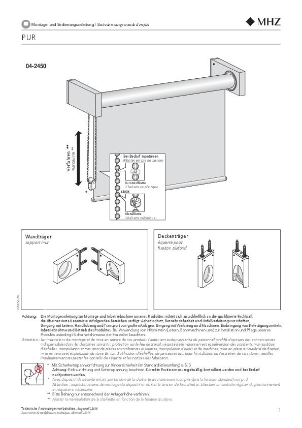 Montage- und Bedienungsanleitung Rollo PUR