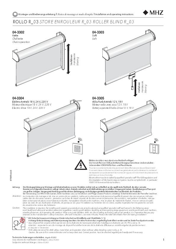 Notice de montage store enrouleur R_03 support