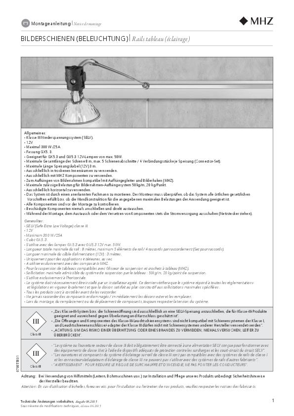 Notice de montage rails tableau (éclairage)