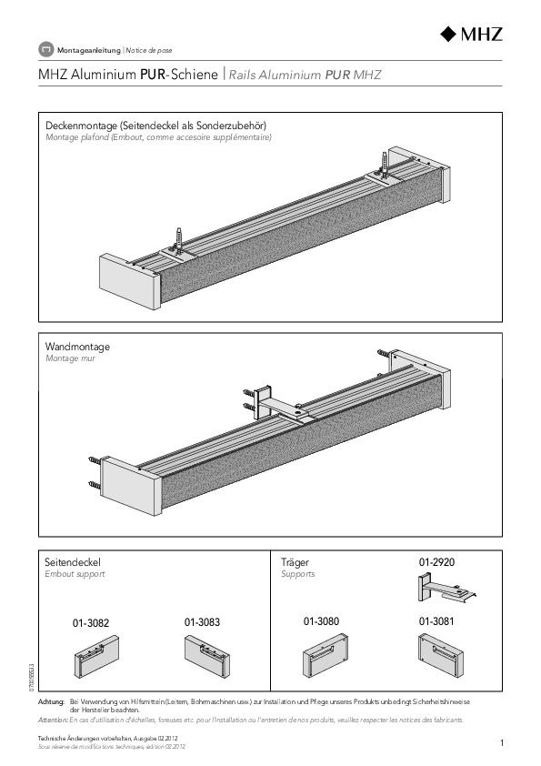 Notice de montage rails aluminium PUR