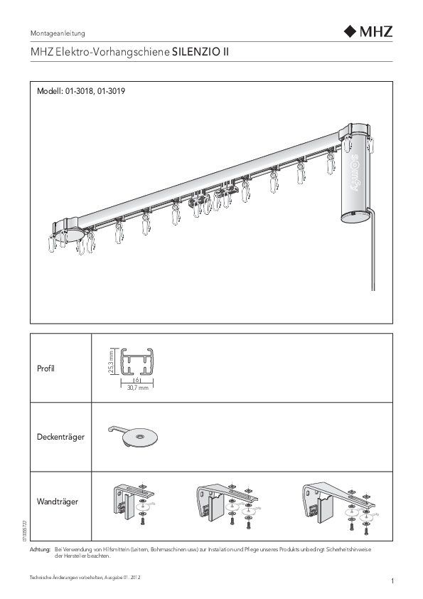 Montageanleitung Vorhangschienen SILENZIO II
