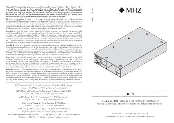 Installation instructions Frieze bracket