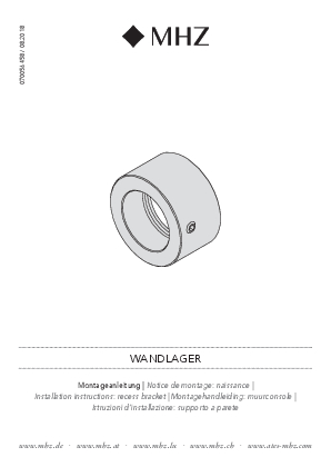 Installation instructions Noblesse recess bracket