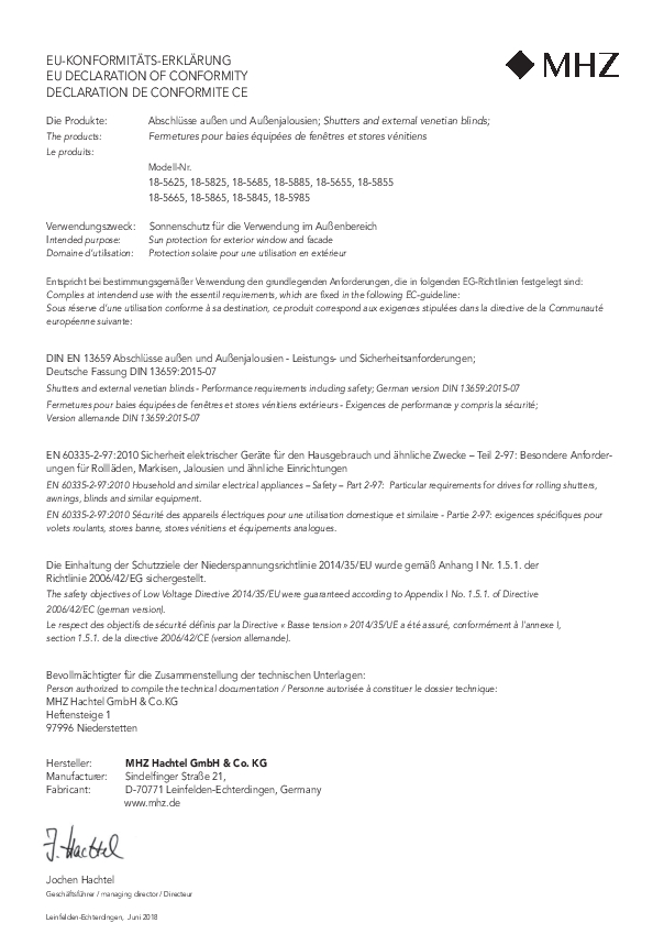 EU declaration of conformity external shutters and Venetian blinds