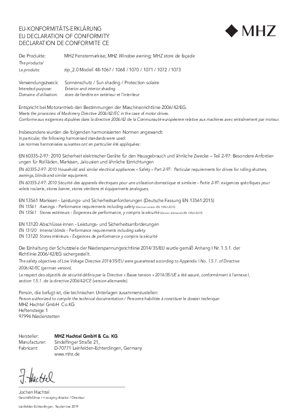 Declaration de conformité CE Store de façade zip_2.0