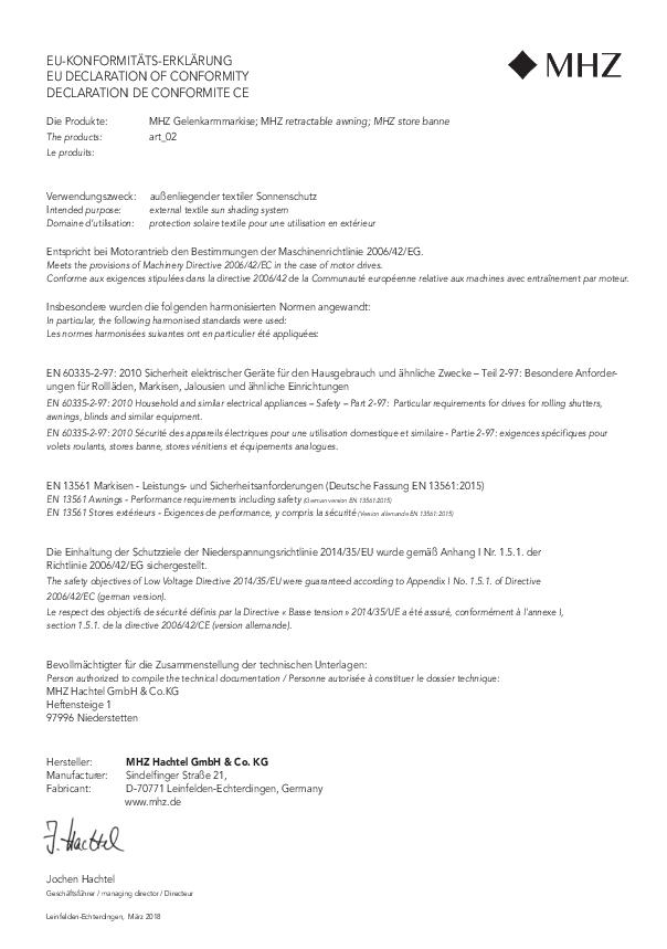 EU-Konformitäts-Erklärung Gelenkarmmarkise art_02