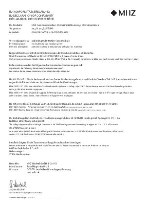 EU-Konformitäts-Erklärung Gelenkarmmarkisen