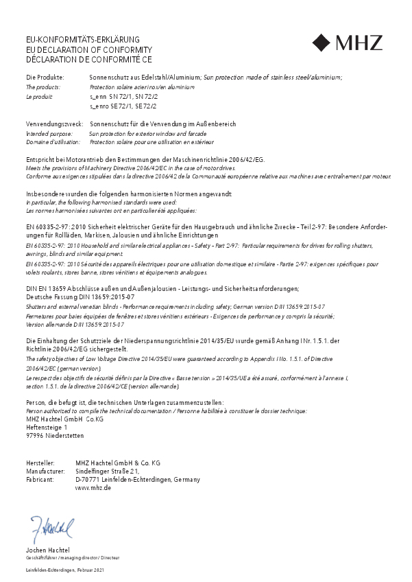 EU-Konformitäts-Erklärung Metallbehang s_enn, s_enro