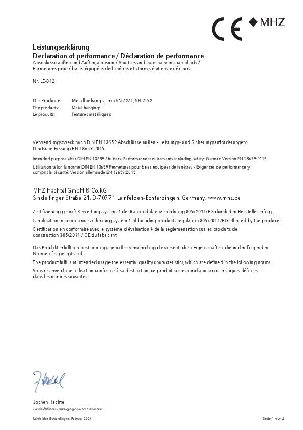 Leistungserklärung Metallbehang s_enn