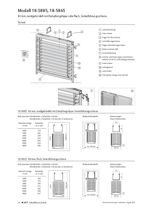 Technische-Informationen Außenraffstores 80mm mit Führungsschiene