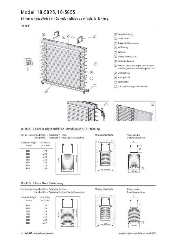 Technische-Informationen Außenraffstores 80mm mit Seilführung