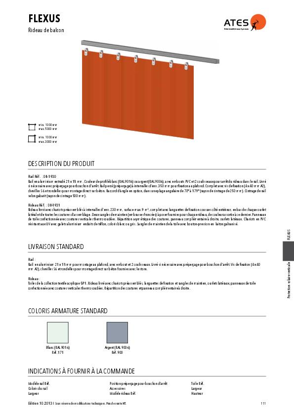 Informations techniques rideau de balcon FLEXUS
