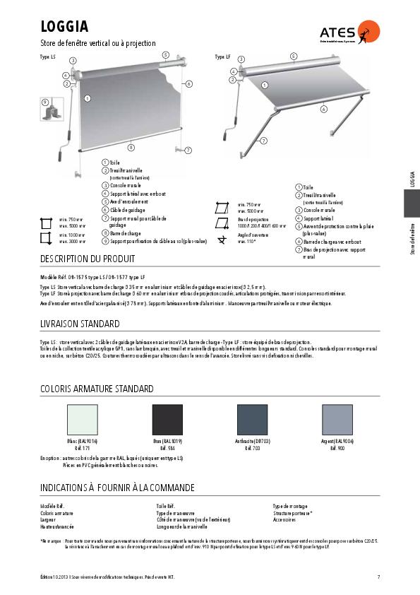 Informations techniques store de fenêtre vertical ou à projection LOGGIA