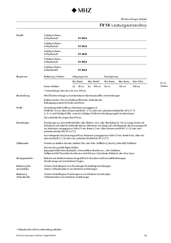 Technische Informationen Flächenvorhang FV 10
