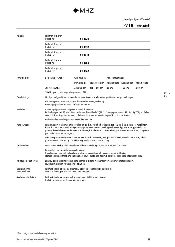 Technische informatie paneelgordijnen FV 10