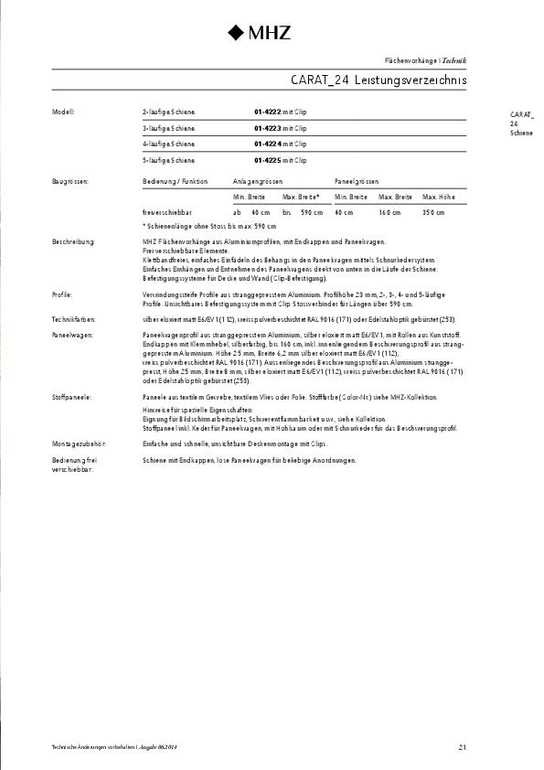 Technische Informationen Flächenvorhang CARAT_24