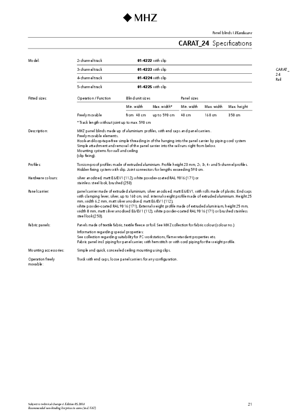 Technical information panel blind CARAT_24