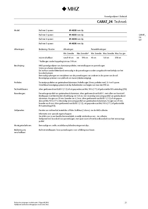 Technische informatie paneelgordijnen CARAT_24
