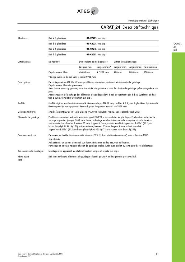 Informations techniques parois japonaises CARAT_24