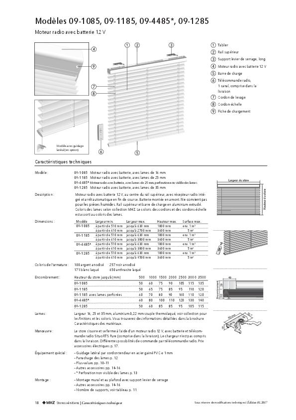 Informations techniques stores vénitiens avec moteur radio et batterie