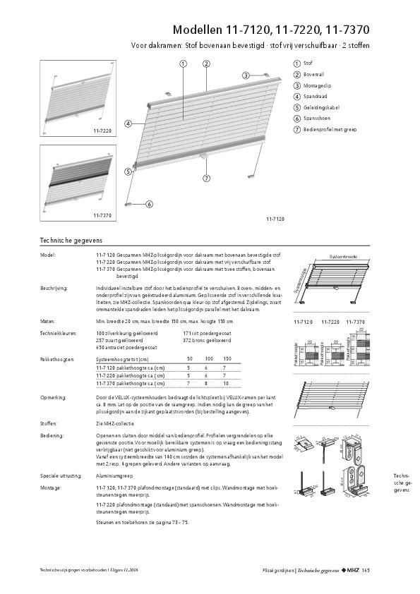 Technische informatie plisségordijnen voor dakramen